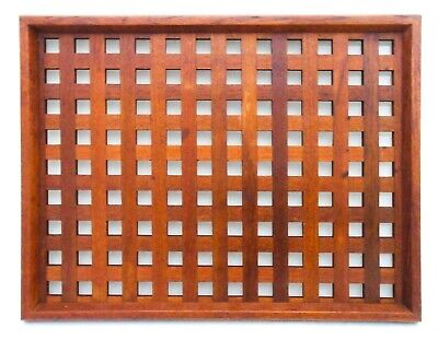 DANSK INT'L DESIGNS LTD (MALAYSIA) TEAK LATTICE/RETICULATED WOODEN SERVING TRAY
