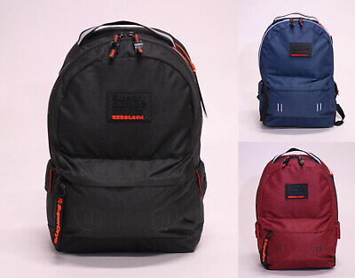 Superdry Mens Rucksack Backpack School Bag Padded Hollow Montana Black Navy Red