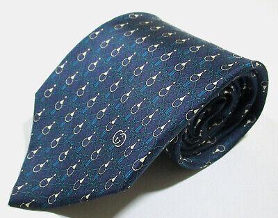 Vintage Gucci Link Pattern Blue Color Silk Necktie Tie Made In Italy