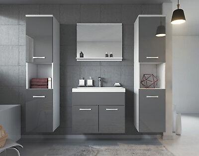 Badezimmer Badmöbel Set Montreal XL 60 cm Waschbecken Grau Hochglanz Fronten ()