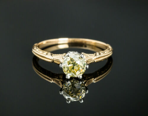 Vintage 14K Two Toned Gold Solitaire Diamond Ring