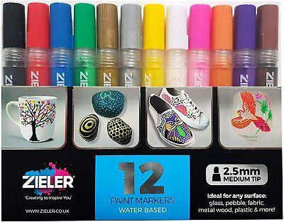 12 Acrylic Paint Pens (2.5mm) for Rock Painting, Ceramic,Porcelain, Glass, Stone Porcelain Paint Pens