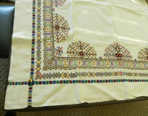"""Vintage Linen Tablecloth w/ Colorful Hand-Embroidery 168"""" x 80""""               #8"""