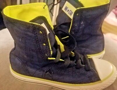 NEW Converse high tops for girls, navy graphics/neon green (yellow) size - High Converse Shoes For Girls