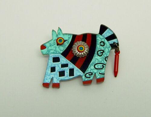 Memphis School Style Inspired Whimsical Acrylic Dog Animal Pin Free Ship