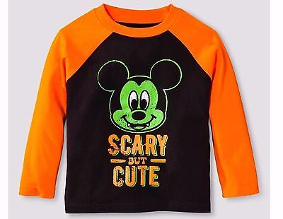 Toddler Disney Mickey Mouse Scary But Cute Dracula Fangs Halloween Shirt 12M 18M