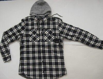 (GLOBE Alford Hooded Sportshirt Flannel Shirt Check Plaid Blue Black White Small )