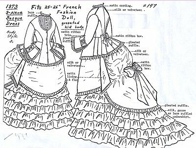 "25-26""ANTIQUE FRENCH FASHION LADY DOLL@1873 3-PIECE BASQUE BUSTLE DRESS PATTERN on Rummage"