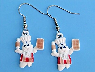 NEW 1996 Pillsbury Doughboy Baker Pierced Earrings - Poppin Fresh Xmas Sale!