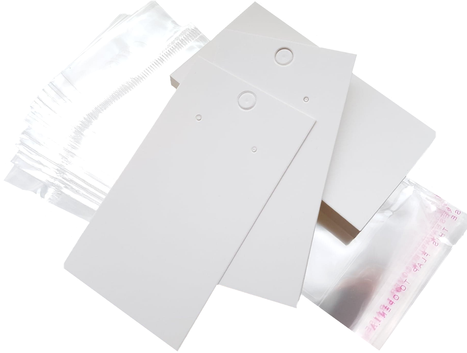 Jewellery - Jewellery Display Cards Earring White & Self Adhesive Bags ~ (9 x 5cm)