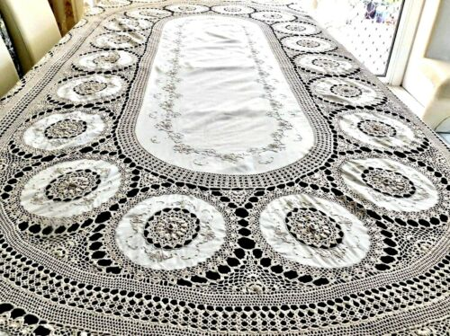 FABULOUS VINTAGE ECRU COTTON HAND CRAFTED LARGE TABLECLOTH EMBROIDERY & LACE
