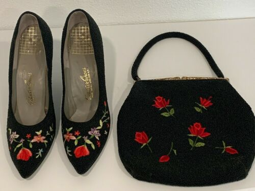 Vintage Saks Ave Shoes 7N Heels and Evening Bag Black Beaded Floral Embroidered
