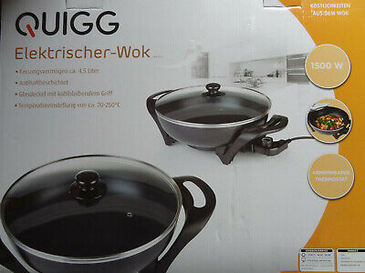 Quigg Elektrischer Wok m. Glasdeckel 4,5 Liter 33 cm Durchm. EW