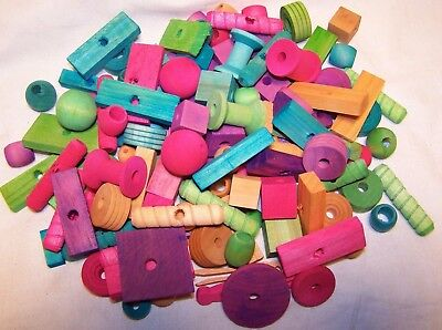 125 BIRD TOY PARTS ASSORTMENT ASSORTED SM TO MEDIUM PARROTS COLORED WOOD PARTS
