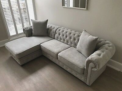 Chesterfield Corner Sofa Velour Fabric Light Grey 3+2 Seater Armchair Chaise