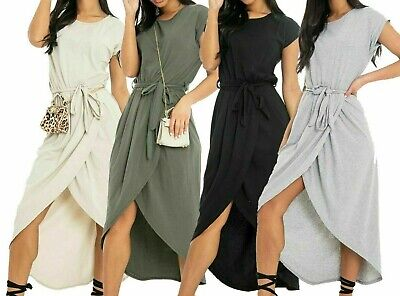 New Ladies Womens Short Sleeve Belted Tie Wrap Casual Summer Midi Maxi Dress Belted Jersey-shorts