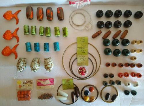 Macrame Beads & Accessories Vintage Ceramic Wooden Owls Fish Rings