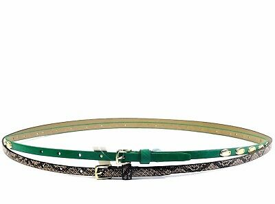 Steve Madden 2 for 1 Green Studded & Natural Python Print Skinny Belt NEW Size L Python Print Belt