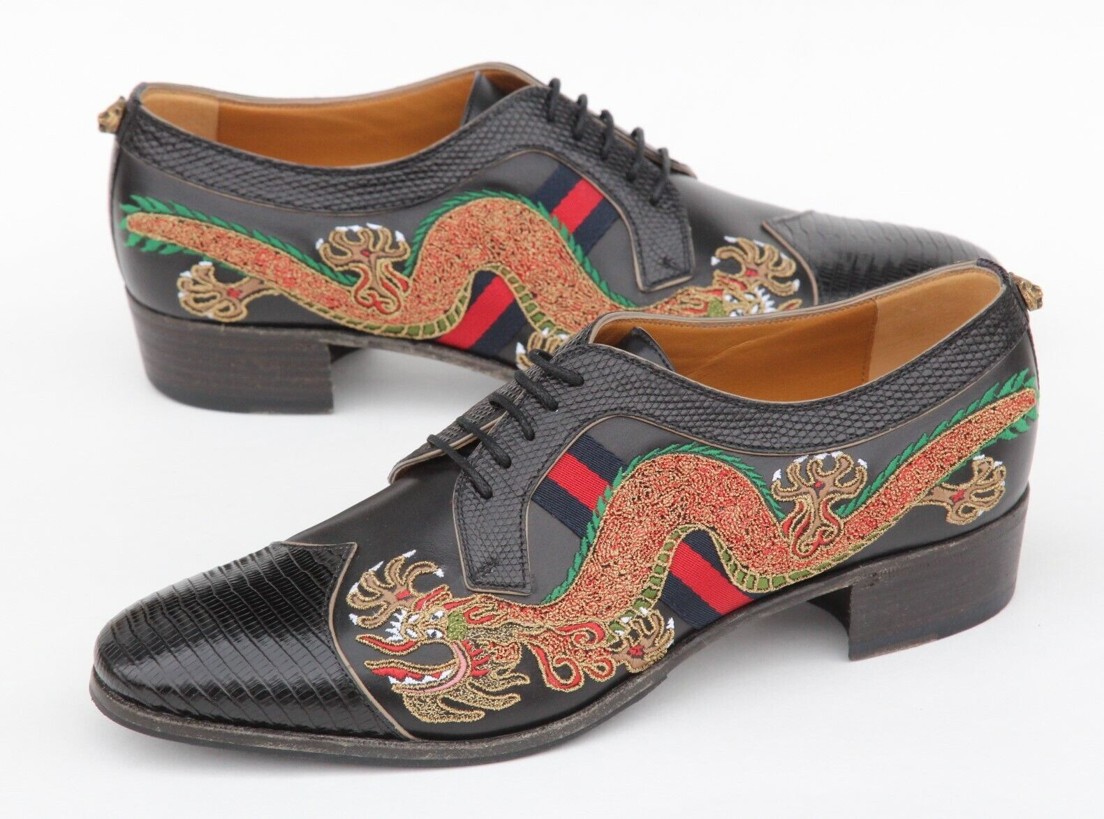 GUCCI Dragon Embroidery Lizard Cap Toe Oxford Mens Shoes UK 8 US 85