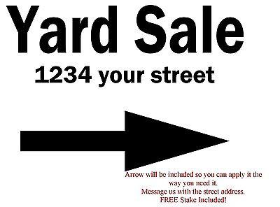 Yard Sale Information Yard Sign 18x24 White Vinyl Free Stake