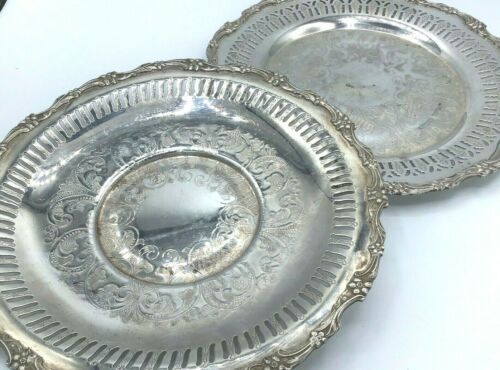 lot of 2 1920-30 SILVERPLATE ORNATE CHARGER PLATES - L BROS OLD ENGLISH (Tor ON)