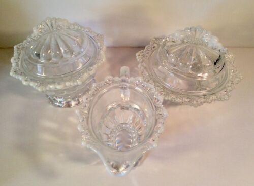 Westmoreland Glass RING & PETAL Opalescent trim #1875 THREE Piece Set Excellent