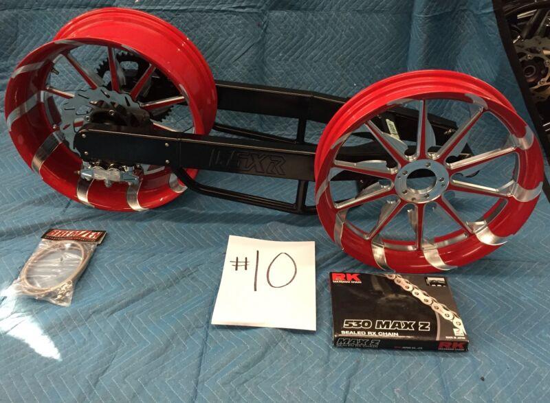 Black 240 Fat Tire Kit W/ Red Tornado Wheels For 2001 - 2006 Suzuki Gsxr 1000
