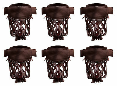 Set of 6 Pool Table Billiard Pockets w # 6 Irons Dark Cherry