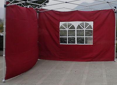 Seitenteile für Alu Faltpavillon 3m Pavillon 2er Set Burgund Rot Seitenteil