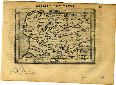 1609 Genuine Antique miniature map of France, Bologne. by A. Ortelius