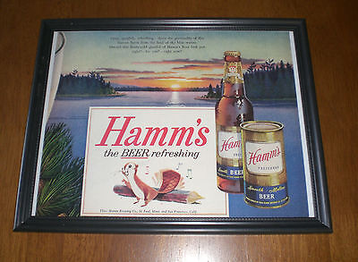 1940's HAMM'S PREFERRED BEER REFRESHING FRAMED AD PRINT