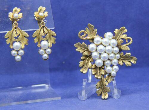 Vintage Florenza Set Gold-tone Faux Pearl Brooch & Clip Dangle Earrings