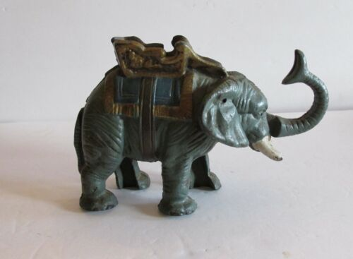 Vtg Mechanical Elephant Bank W/Saddle Trunk and Tail Spring Lever Action, Penny