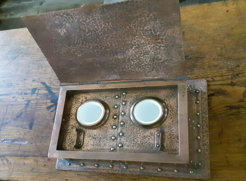 Rare Arts and Crafts Hammered Copper Double Inkwell Porcelain Inserts Circa 1900