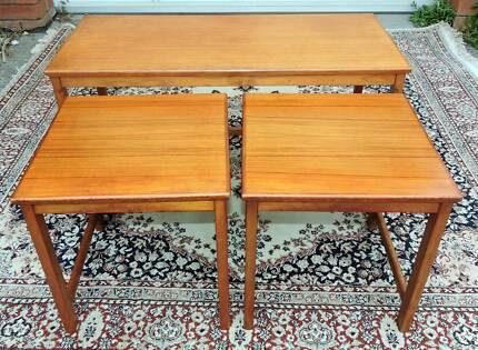 Vintage Mid Century Danish Style Parker  Nest Of 3 Tables