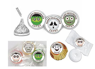 108 Halloween Emoji Emoticon Hershey Kiss Labels Favors Stickers Personalize ANY