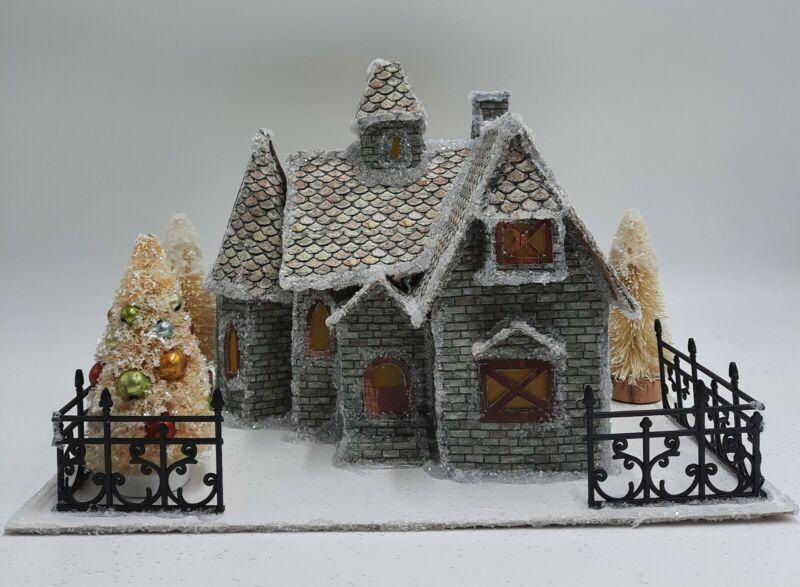 Frosty Country Manse Paper Putz House