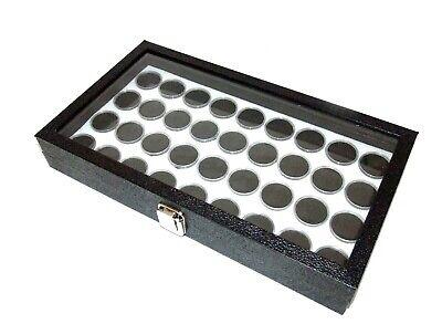 Glass Top Jewelry Display With 36 Round Gem Jars Black Jars White Foam