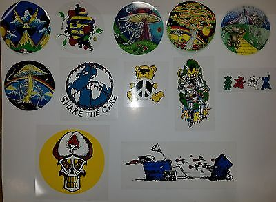 Lot of 12 Grateful Dead reverse window stickers and decals vintage original #2