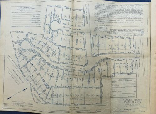1928 ORIGINAL BLUEPRINT POINT BREEZE PITTSBURGH PA DALLAS AV-S. LINDEN AVENUE
