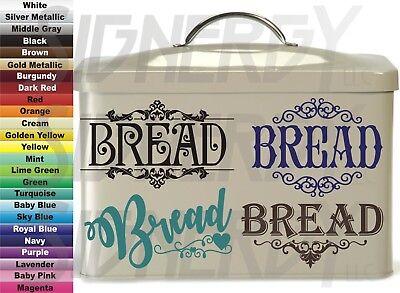 Bread Box Vinyl Decals Sticker Choice Design & Color Tin Storage Custom - Sticker Designs