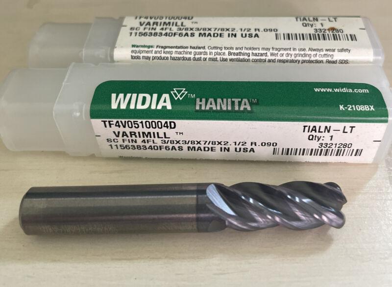 "Lot (2) Widia Hanita 3/8""  Carbide Endmill 4 Flute 7/8 LOC .09 Radius VariMill"
