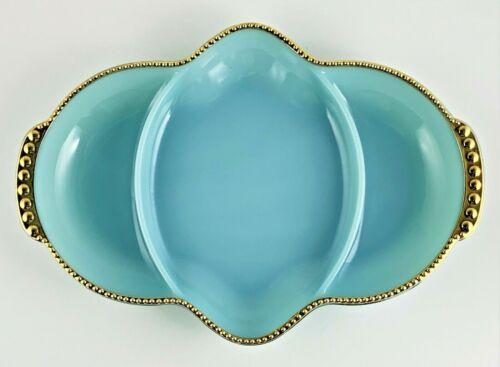 Vintage Fire King Divided Serving Dish Blue Gold Raised Bead Rim