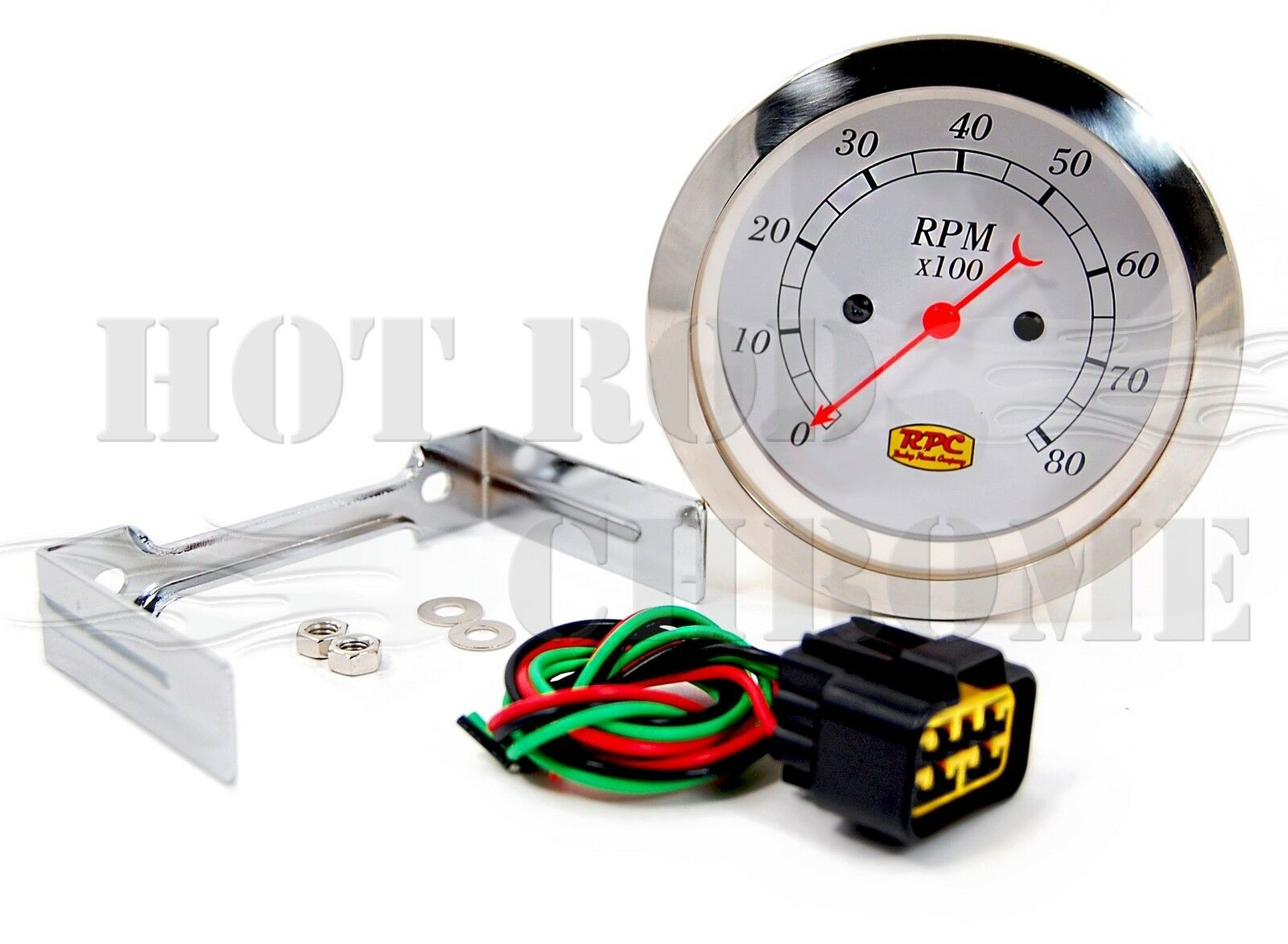 3 3/8'' Electrical Classic Tachometer 0-8000 RPM White Face Plate Hot Rod Racing