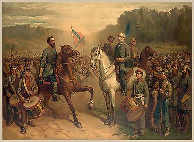 Civil War Paintings   Last Meeting Gen Lee   Jackson   Fine Art Canvas Print New