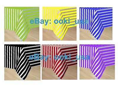 Stripe Plastic Disposable Tablecloth Pattern Table Cover Wedding Party Decor