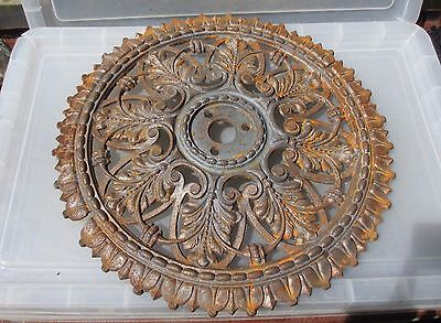 """Victorian Cast Iron Ceiling Rose Architectural Antique Old Beading Gilt Leaf 19"""""""