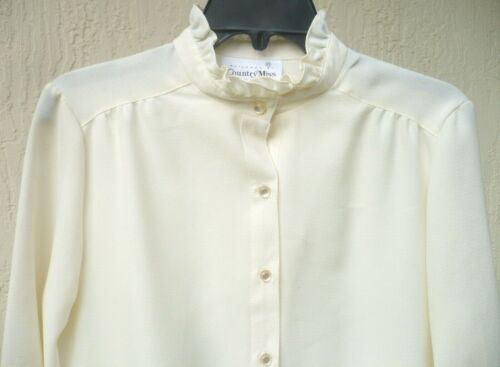 VTG 70S SZ M COUNTRY MISS OFF WHITE POLO POLY KNIT HIGH NECK RUFFLE DRESS WOMEN