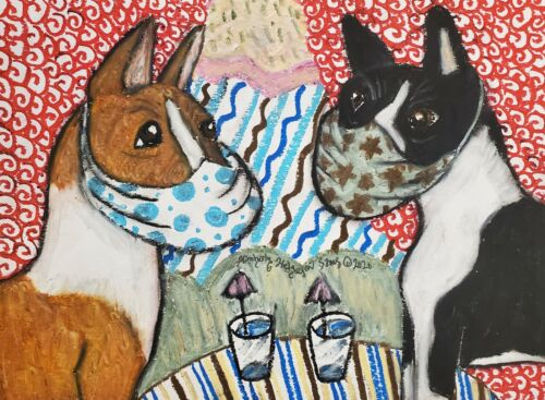 Basenji in Quarantine Original 9x12 Pastel Painting Signed by Artist K Sams Dogs