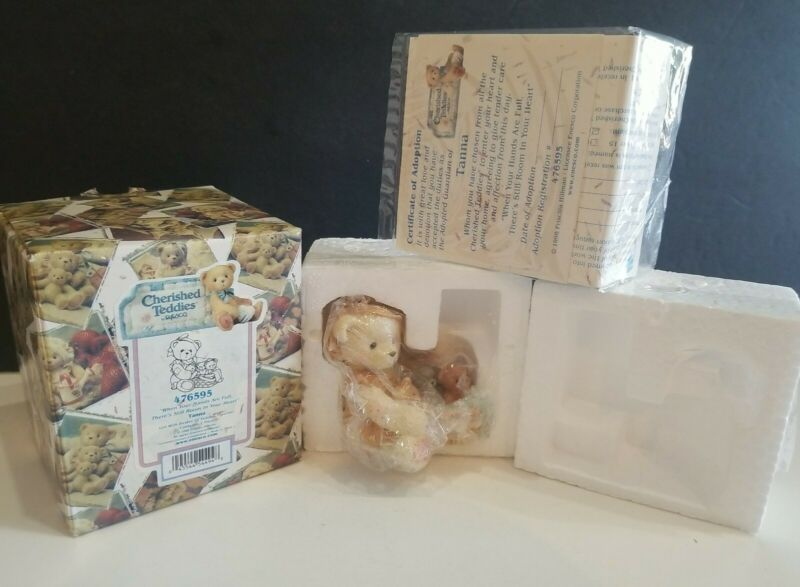 """CHERISHED TEDDIES TANA """"WHEN YOUR HANDS ARE FULL """" RARE WHITE BEAR #476595 NEW"""